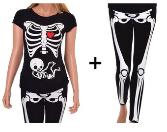 Pregnant Skeleton with Neutral Baby Halloween True MATERNITY Fit Costume - Includes Shirt and Leggings