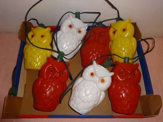 Vintage Wise Owl Blow Mold String Lights With Original Box
