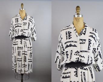 Vintage 80s Nicole Miller Abstract Print Black & White Dress S