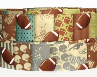 One inch Grosgrain Football Ribbon, Football Ribbon, Football Grosgrain, Sports Ribbon, Trim, Grosgrain By The Yard by KC Elastic Ties