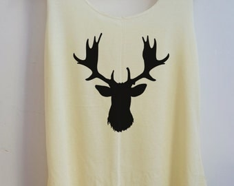 CLEARANCE Deer Art Vintage Tank Top Art T-Shirt Fashion Shirt Women Shirt  Women T-Shirt Tunic Top Vest Size S,M,L