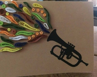 Trumpet Quilled Greeting Card