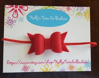 Felt bow on skinny elastic,  perfect for newborn, infant, baby, toddler, child,  birthday, wedding, flower girl, holidays, christmas