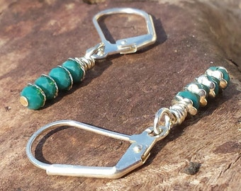 Earrings - Silver Lever-back With Turquoise Crystals