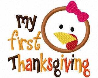 My First Thanksgiving Girl Applique Design Machine Embroidery Design 4x4 and 5x7