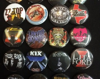 006 Glam Heavy Metal Hard Rock Southern Button, Pin, Badge