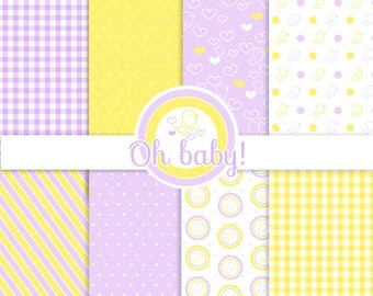Oh Baby! Digital Paper yellow lilac bird