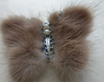 1950s Large mink butterfly with blue crystal and pearls
