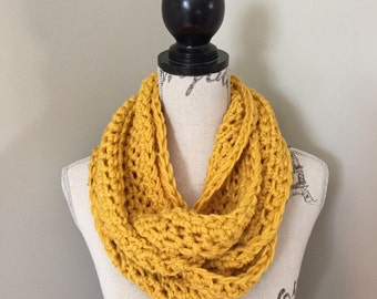 Crochet Infinity Scarf, Infinity Scarf, Infinity Crochet Scarves in mustard yellow