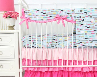Tribal Girl in Pink & Aqua Bumperless Crib Bedding | 2 or 3 Piece Set