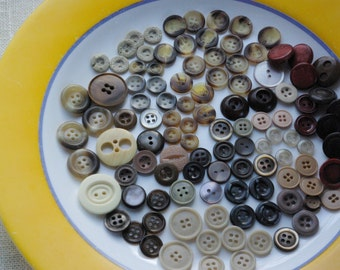 Soviet vintage buttons lot of 100 beige brown taupe old plastic buttons for collection, sewing, jewelry, crafts