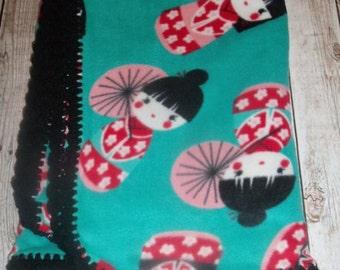 Black Crochet Trim Geisha Japanese Girls Fleece Throw, Blanket