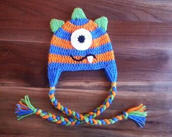 Blue and Orange Monster Hat