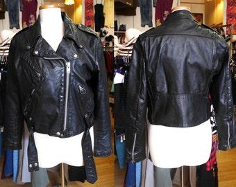 Vintage Leather Motorcycle Jacket Brooks Zippers Medium Women's