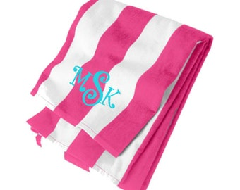 Personalized Striped or Solid Beach Towel * Monogrammed Cabana Stripe Beach Towel * Custom Embroidered Pool Towel with Monogram or Name