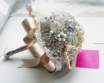Brooch bouquet, wedding bouquet, vintage, vintage bouquet, silver bouquet, silver brooch bouquet, taupe, wedding bouquet, bridal bouquets