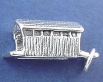 Covered BRIDGE Charm .925 Sterling Silver Pendant - sc400