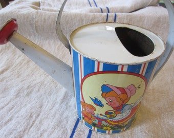 Ohio Art Tin Vintage Child's Watering Can...Tin Litho...Charming Graphics...Rustic Patina