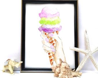 Ice Cream Nursery Wall Art, Ice Cream decor, Ice Cream Painting, Watercolor Ice Cream, Printable Nursery Decor, Digital DOWNLOAD