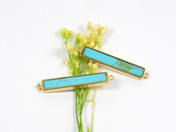 Gemstone Connector/ Pendant with Turquoise Stone in Anti-tarnish Gold Plating  - 2 pcs/ order