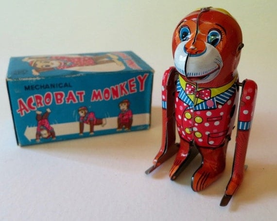 Vintage Wind Up Acrobat Monkey