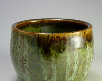 Tea Bowl, Speckled Stoneware, Grass Green and Brown with Stripes