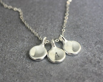 Silver personalized necklace, Custom initial necklace, Mothers necklace, Hand stamped necklace.