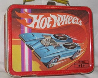vintage 1969 thermos king-seeley hot wheels metal lunchbox