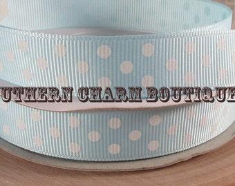 """3 yards of 5/8"""" light blue/white polka dot grosgrain ribbon"""