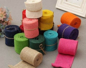Burlap Ribbons, Burlap Rolls. Jute Ribbon-2yards in 1 roll,blue burlap ribbon,green jute ribbon