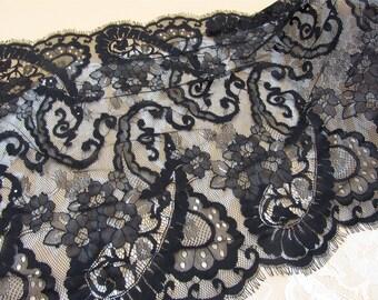 Lace Fabric by 3yards, Eyelash Lace Fabric, Chantilly Lace Fabric,black Lace Fabric, 19.6 inches Wide for Dress, Veil, Craft Making