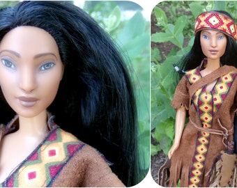 EarthWoodBeautyDolls: Barbie doll repaint, OOAk handmade doll, Women Of The world doll- Native American Indian