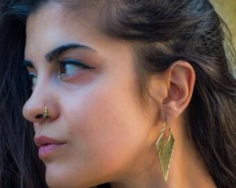 Matil earrings, geometric hoops, brass hoops or silver plated