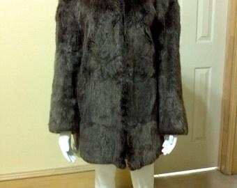 Vintage Grey Boho Fur Coat - 1980s Real Fur Coat - Real Nutria Fur Jacket - Coat - Hollywood Glam - Retro Rich - Size Small Medium