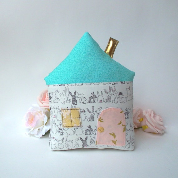 Tooth fairy pillow nursery pillow mint turquoise roof Fairy