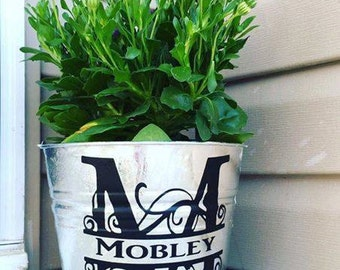 Personalized Flower Bucket-Personalized Flower Pot-Personalized Pail-Personalized Planter-Monogrammed Ice Bucket-Rustic Decor
