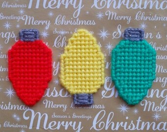 Plastic Canvas: Mini Christmas Bulb Magnets (set of 3)