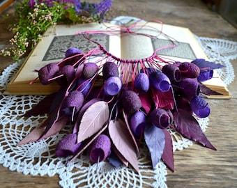 necklace silk cocoon purple lilac vinous necklace. silk cocoons jewelry. necklace silk cocoon