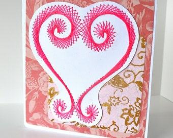 Swirled heart card. Embroidered Valentine's card