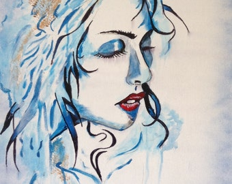 Black and White Abstract Art/Painting of Woman with Red Lips