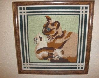 Cat Needlepoint Handcrafted Art in Frame