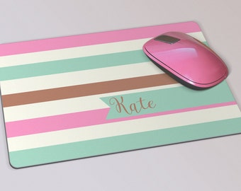 Fabric Mousepad, Mousemat, 5mm Black Rubber Base, 19 x 23 cm - Neopolitan Ice Cream Stripes Personalised Monogrammed Mousepad Mousemat