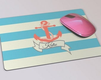 Fabric Mousepad, Mousemat, 5mm Black Rubber Base, 19 x 23 cm - Nautical Stripes & Anchor Personalised Mousepad Mousemat
