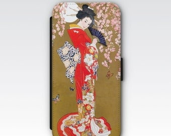 Folio Wallet Case for iPhone 8 Plus, iPhone 8, iPhone 7, iPhone 6 Plus, iPhone SE, iPhone 6, iPhone 5s - Art Deco Japanese Geisha Lady Case