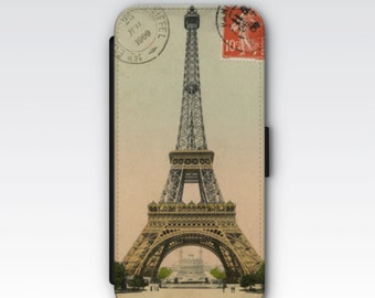 Wallet Case for iPhone 8 Plus, iPhone 8, iPhone 7 Plus, iPhone 7, iPhone 6, iPhone 6s, iPhone 5/5s -  Vintage French Eiffel Tower Postcard