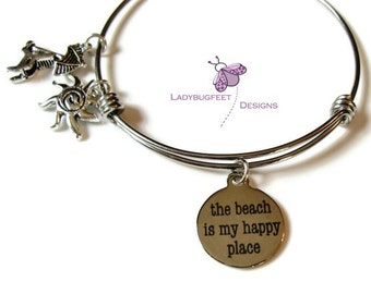 The Beach is my HAPPY PLACE bracelet, Stainless steel adjustable bangle, Expandable, Stacking bangle