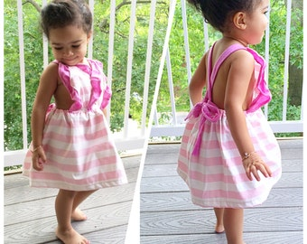Baby girl pink & white stripe open back ruffle cotton dress / Made to order