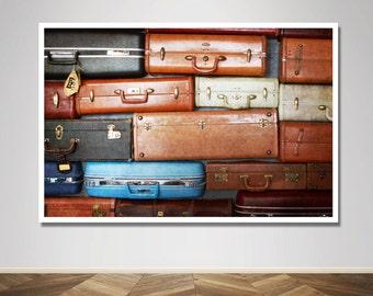 Photograph - Vintage Travel Suitcase Pop Art Design -  Fine Art Photography Print Wall Art Home Decor