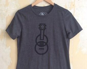 Ukulele T-shirt - Modern Ukulele t-shirt - Women's t-shirt - Dark Gray T-shirt Tri-Blend Relaxed Fit and Responsibly