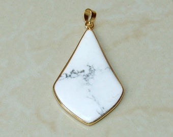White Howlite Pendant -  Gold Plated Bezel and Bail - 30mm x 50mm - 7626